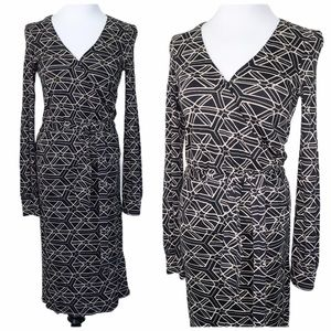 Club Monaco black tan geometric midi wrap dress xs